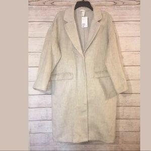H&M Oversize Wool Blend Long Coat Beige NWT